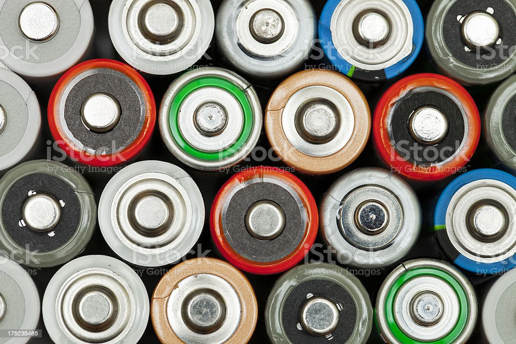 AA alkaline batteries background royalty-free stock photo