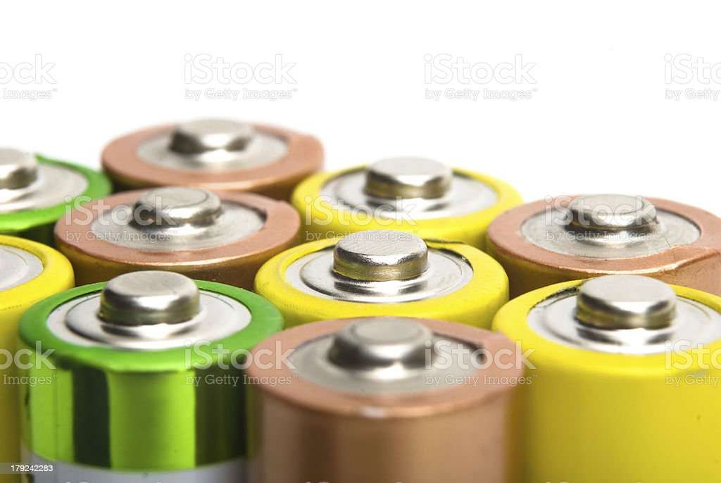 alkaline batteries isolated on white background stock photo