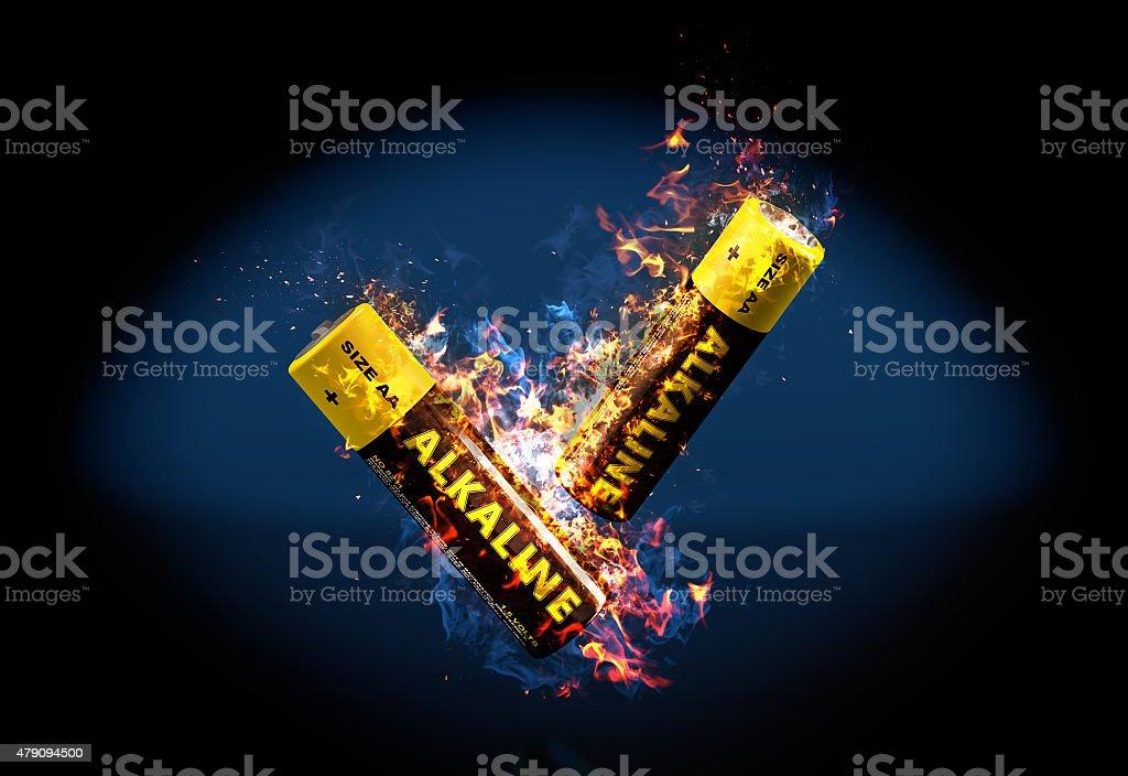 Alkaline Battery on Fire bildbanksfoto