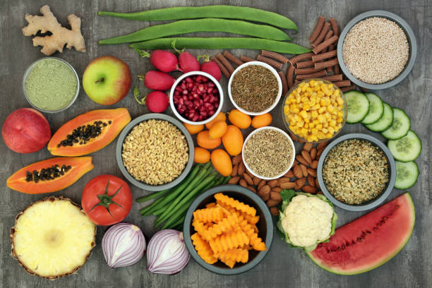 Alkaline Health Food Sampler stock photo