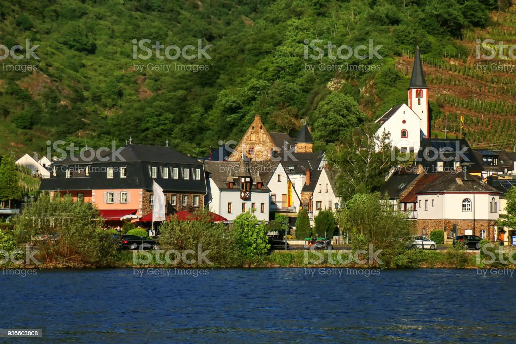 Alken town on Moselle River in Rhineland-Palatinate, Germany. stock photo