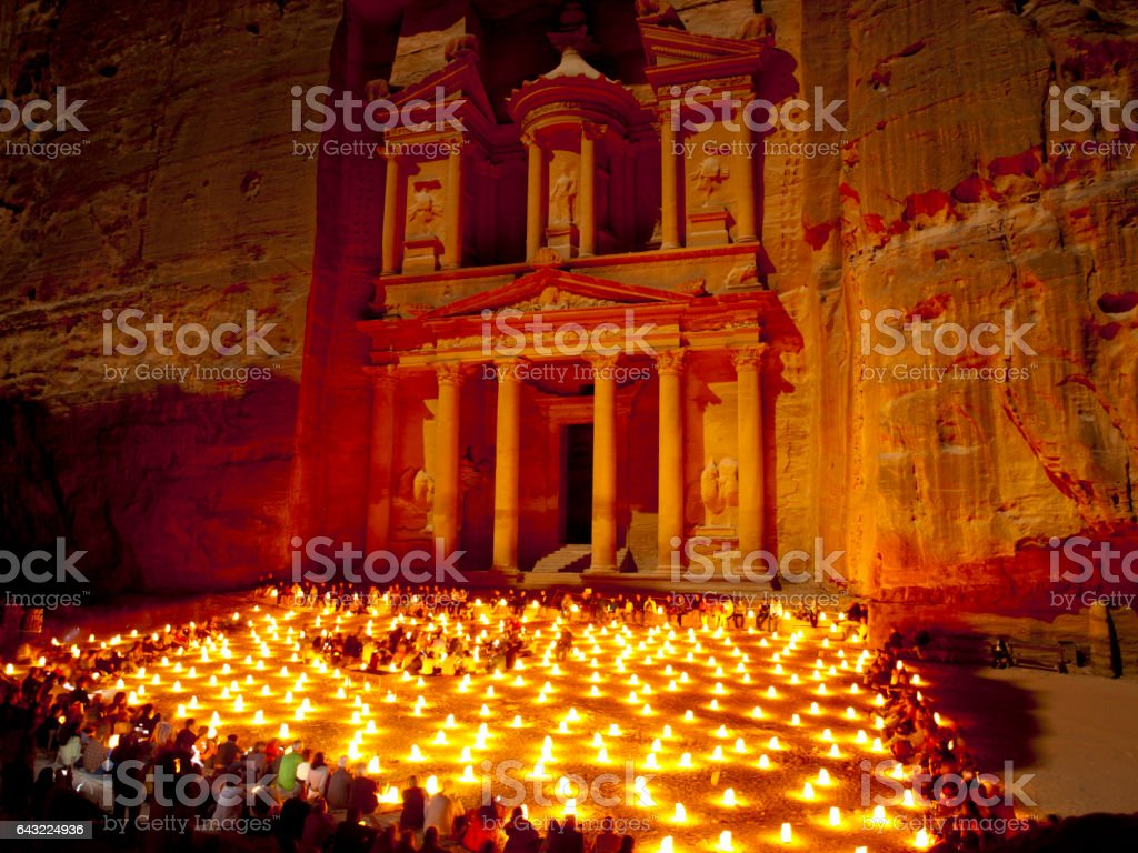 Al-Khazneh at the night, Petra stock photo