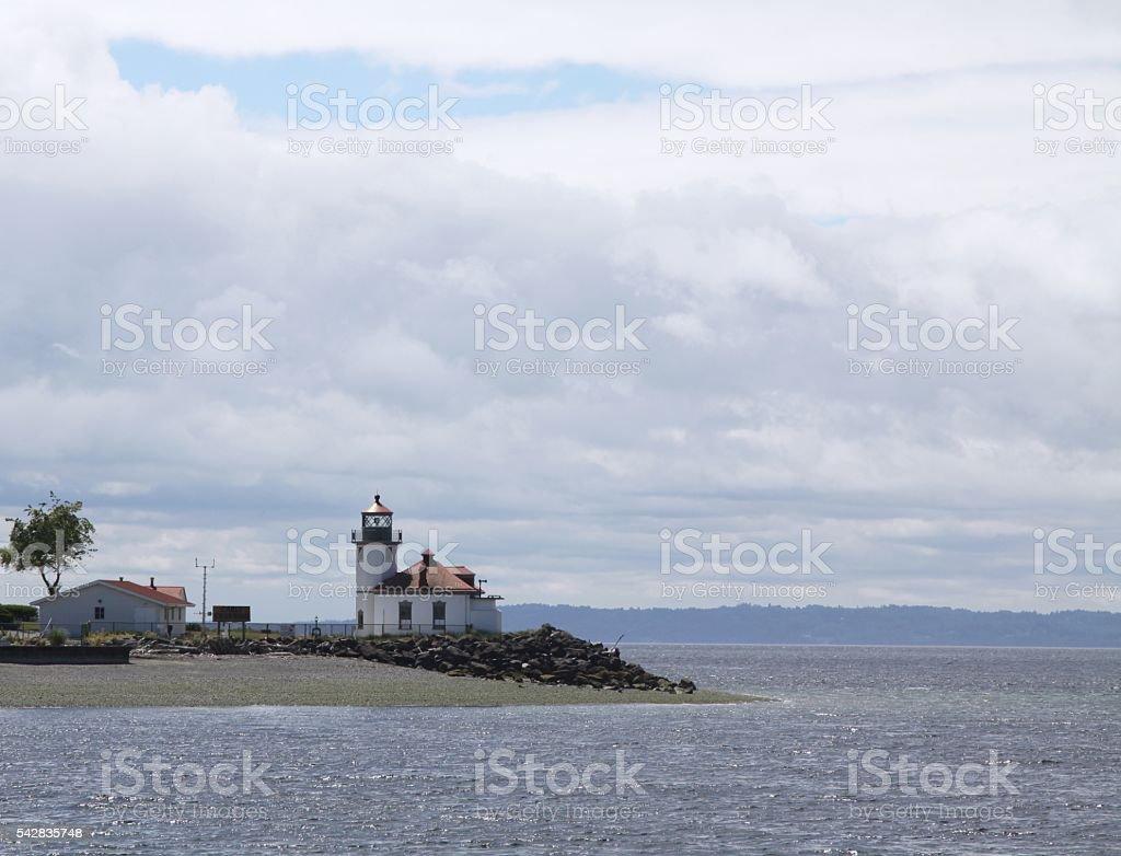 Alki Point Lighthouse In Seattle stock photo