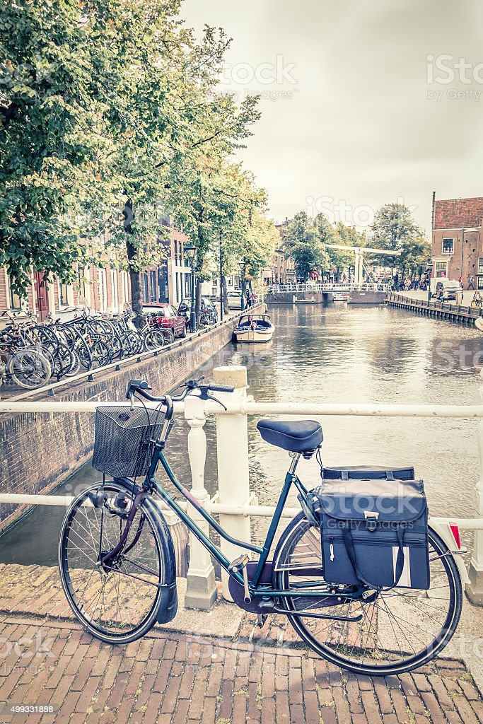 Alkmaar canal and bicycles, The Netherlands stock photo