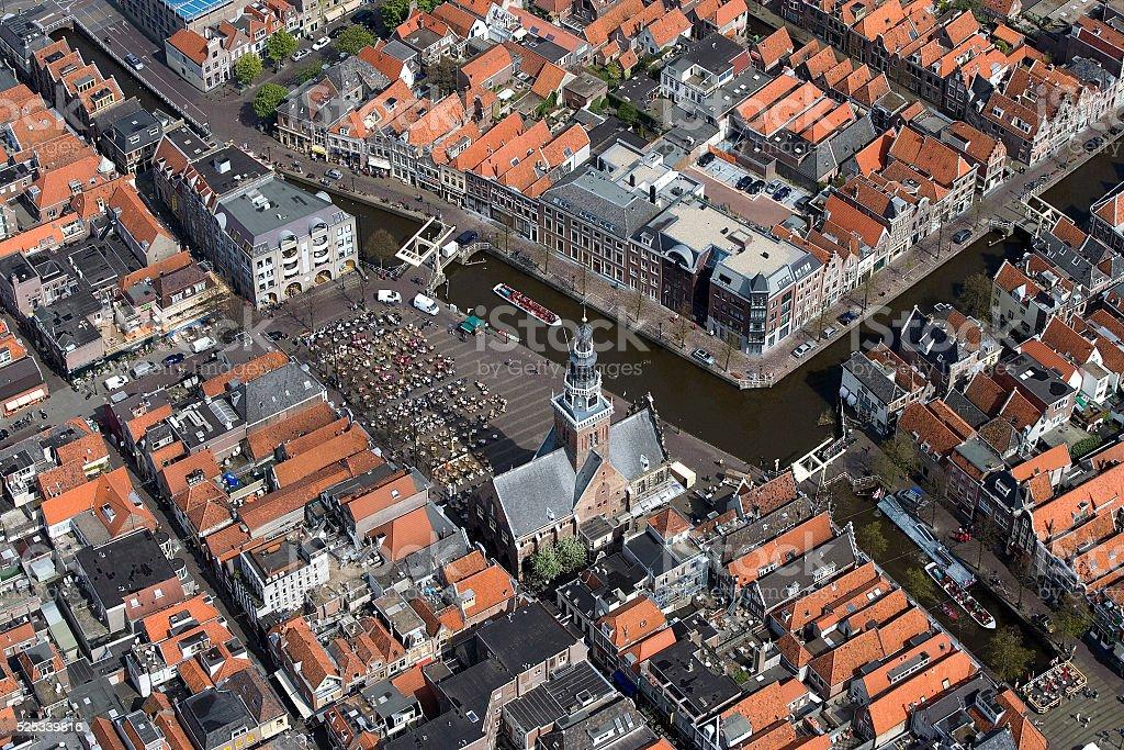 Alkmaar centre cheese market Kaasmarkt stock photo