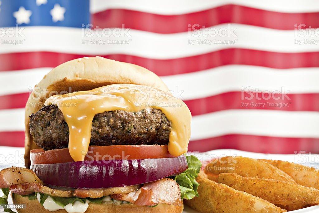 All American Bacon Cheeseburger royalty-free stock photo