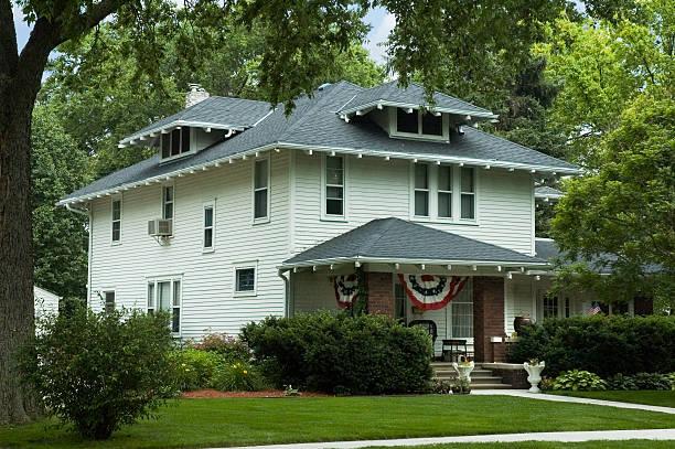 All American Foursquare Home stock photo