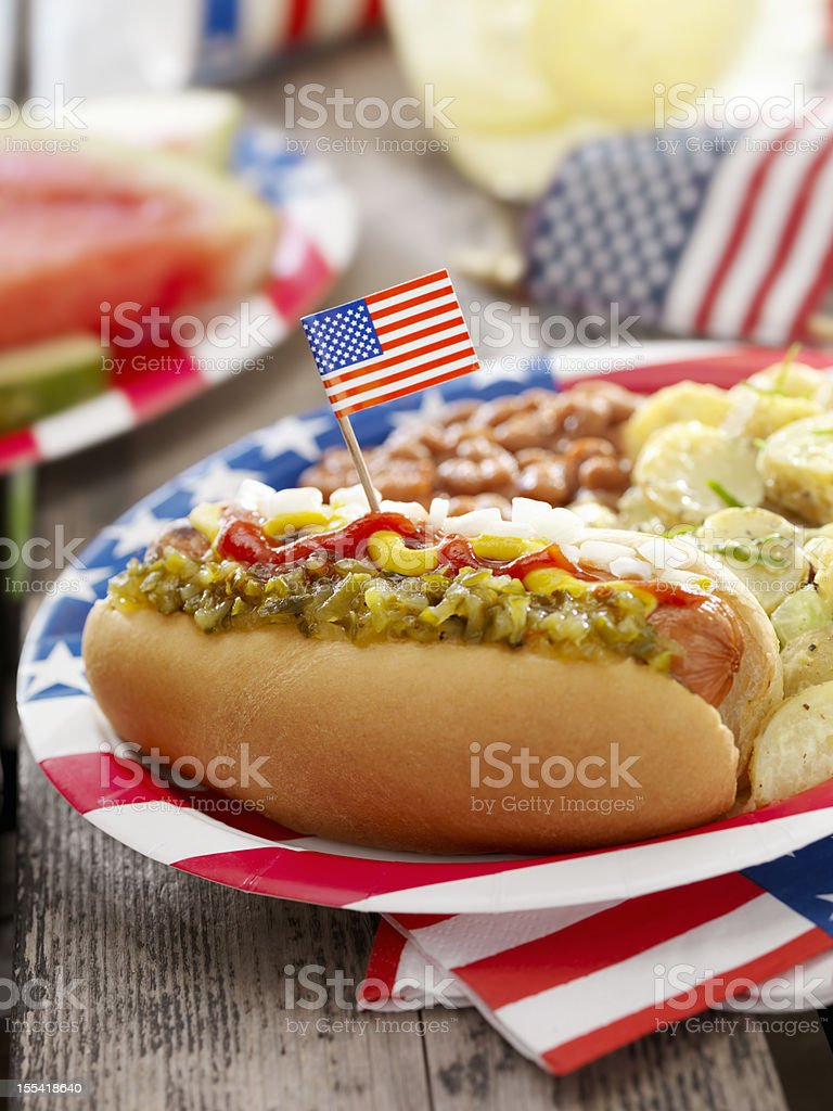All American Hotdog with Lemonade royalty-free stock photo