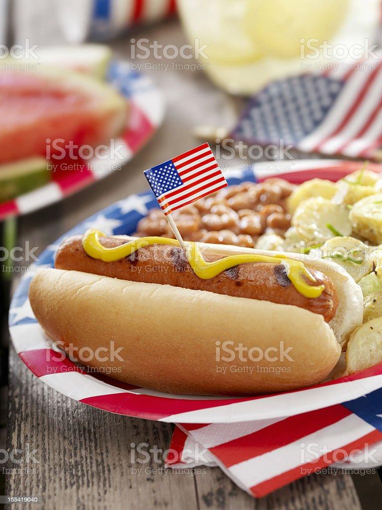 All American Hotdog with Lemonade royalty-free stock photo