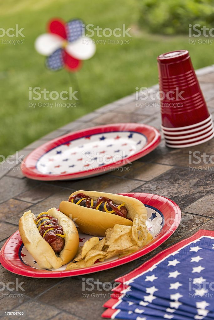 All American Hotdogs at a cookout royalty-free stock photo