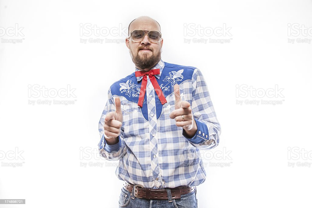 All American Man with Hand Gesturing Finger Gun royalty-free stock photo