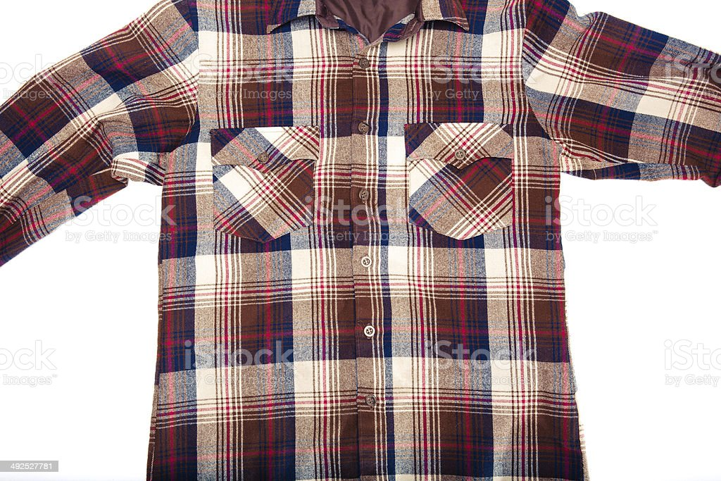 All American Plaid Flannel Button Down Shirt royalty-free stock photo