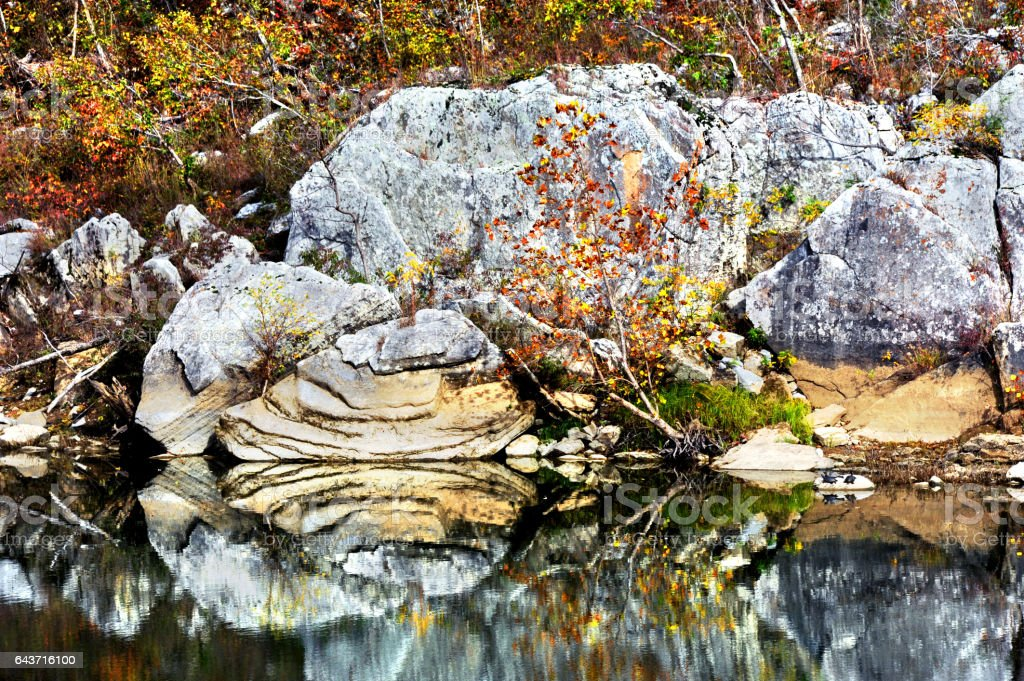 All Around Fall Day on the Buffalo River stock photo