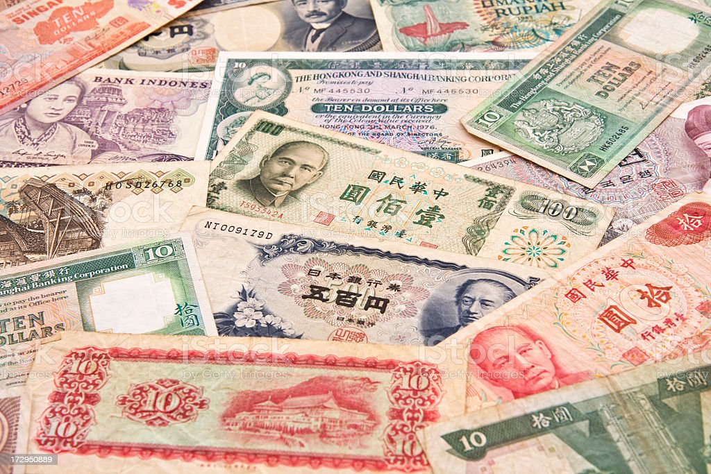 All Asian paper currency. stock photo