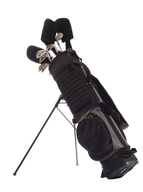All black golf bag with golf clubs inside stock photo