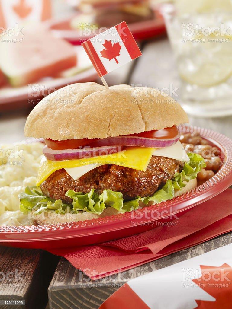 All Canadian Cheeseburger and Lemonade royalty-free stock photo