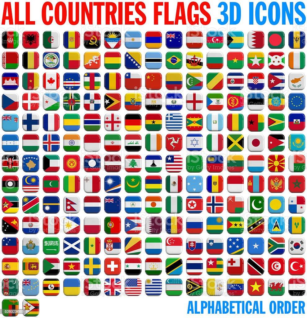 Todas las banderas conjunto completo de país - foto de stock