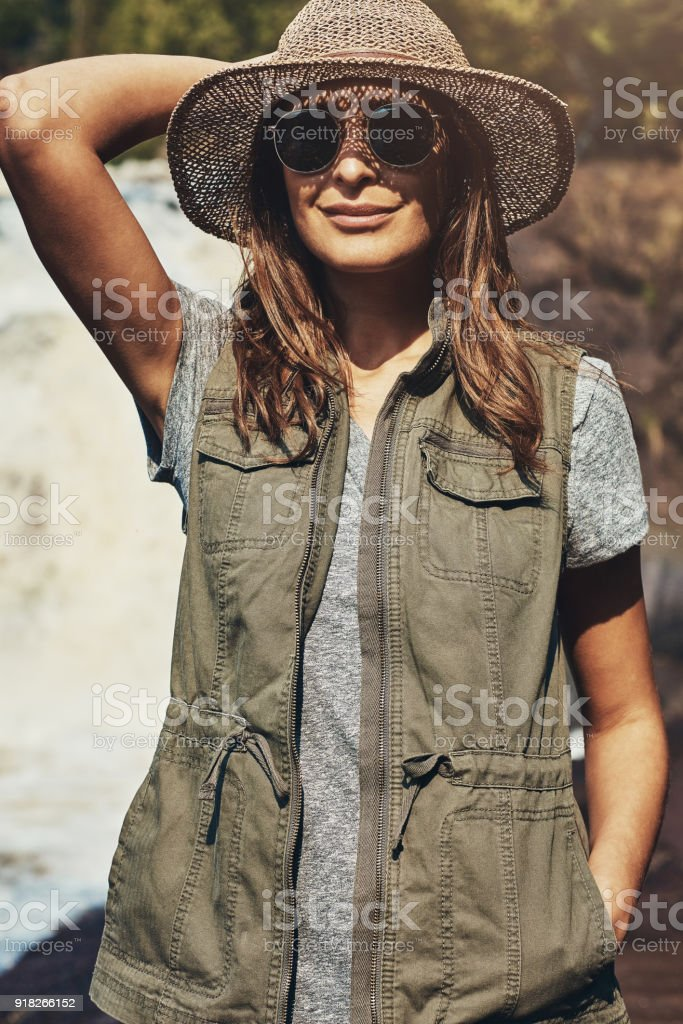 All decked out for a day in nature stock photo