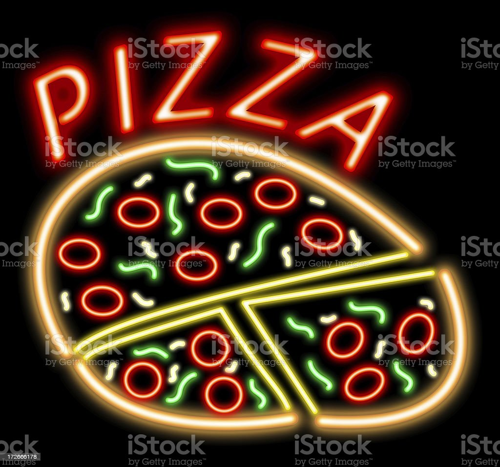 All dressed neon pizza royalty-free stock photo
