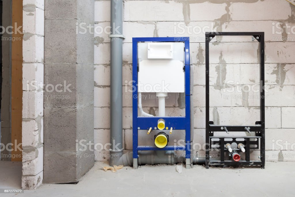 Todo El Diseño De Sujetador Para Inodoros Suspendidos. Inodoro De Colgar De  Construcción. Instalación