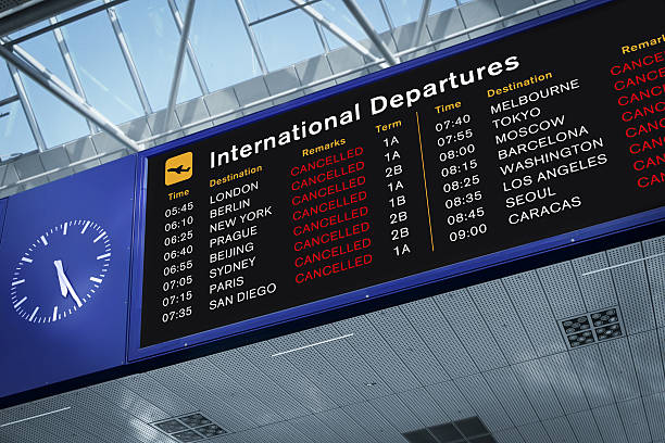 All Flights Cancelled International Departures Information Board with All Flights Cancelled. Photomontage. SEE MY OTHER SIMILAR PHOTOS: mid air stock pictures, royalty-free photos & images