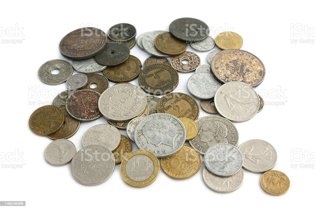 All French coins until the year 2001 royalty-free stock photo