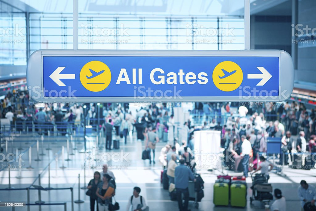 All Gates signpost at Los Angeles Airport stock photo