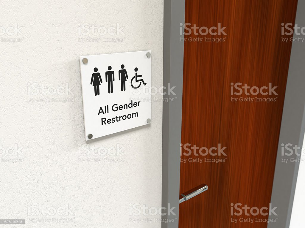 All Gender Restroom Signage stock photo