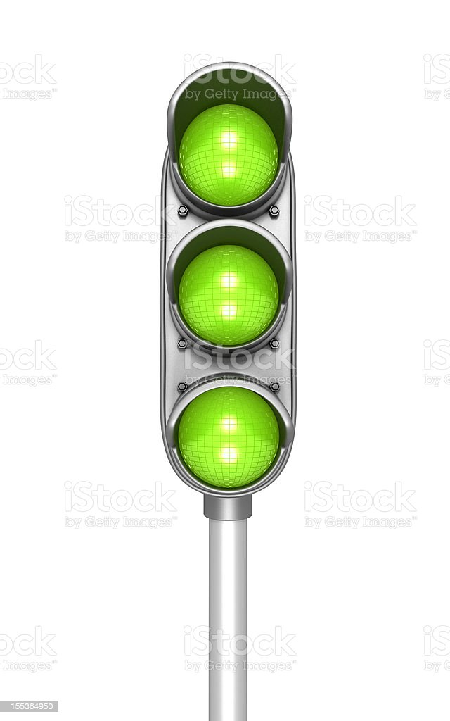 All green traffic lights on a stoplight stock photo