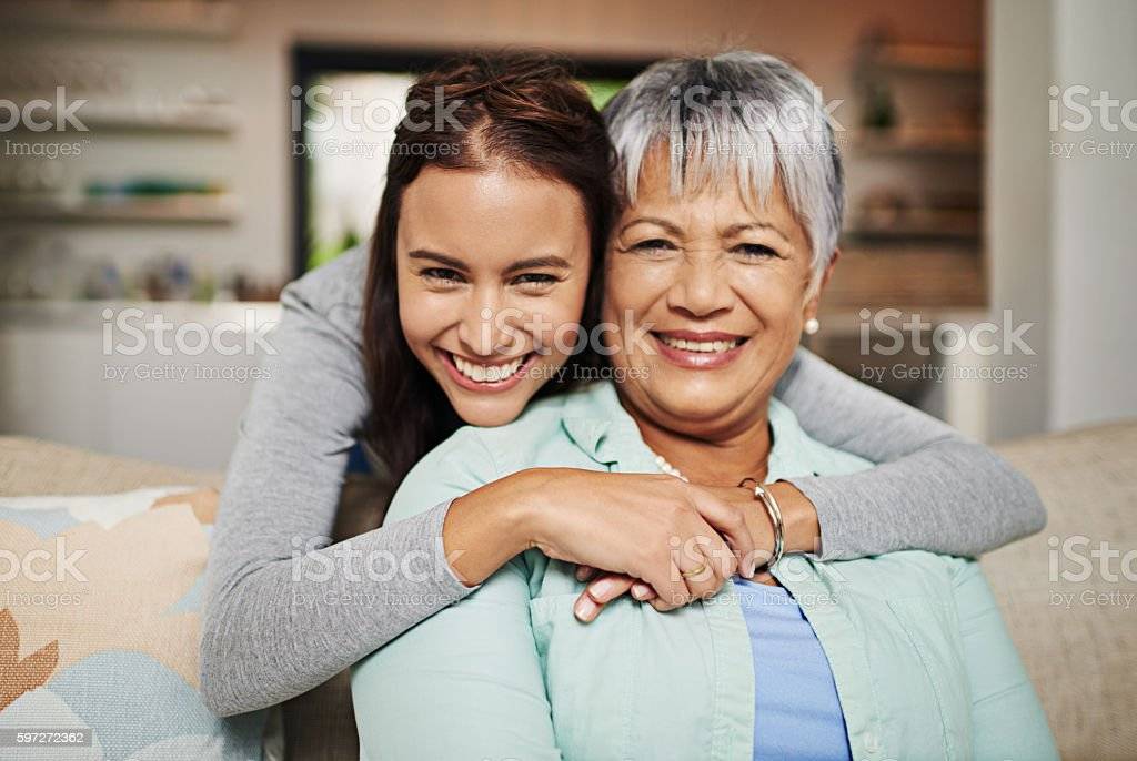 All grown up, but still her mother's daughter royalty-free stock photo
