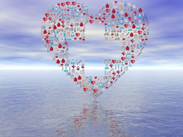 all heart shaped disease logos - 3d rendering stock photo