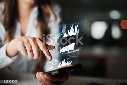 High angle shot of an unrecognizable young businesswoman using her cellphone while working late in the office