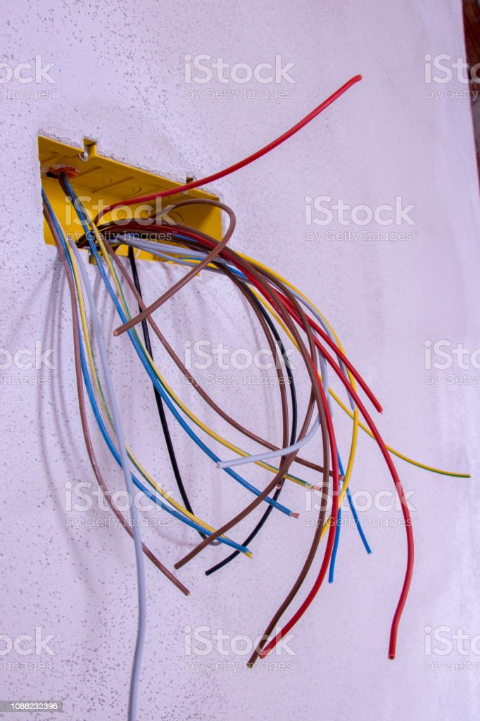 all kinds of colorful cables stock photo