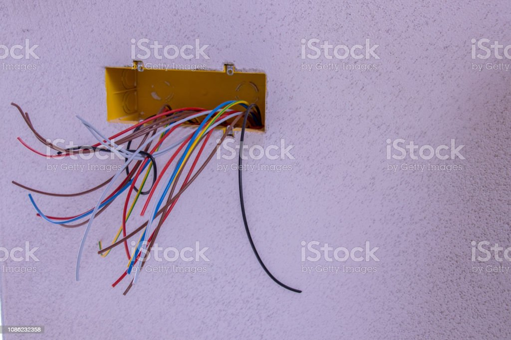 all kinds of colorful electric cables stock photo