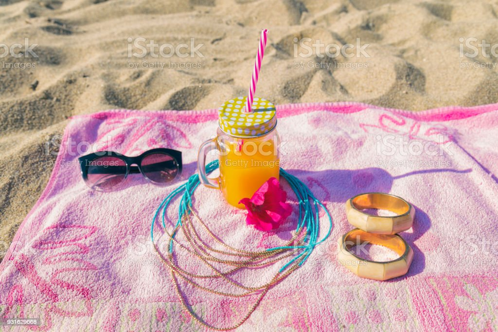All necessary accessories on the beach. Summer concept. stock photo