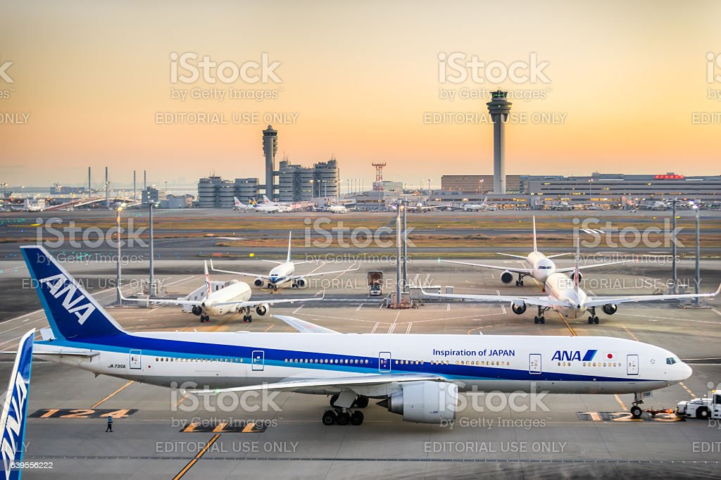 All Nippon Airways Boeing 777 at Haneda Airport stock photo