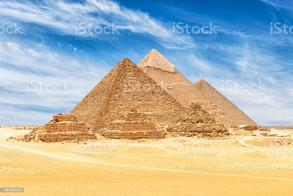 All of The Six Giza Pyramids in Cairo, Egypt stock photo