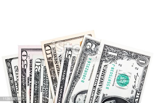 istock 1, 2, 5, 10, 20, 50, 100 -all of U.S. dollar bills, close-up isolated for your unique project. 1125732195