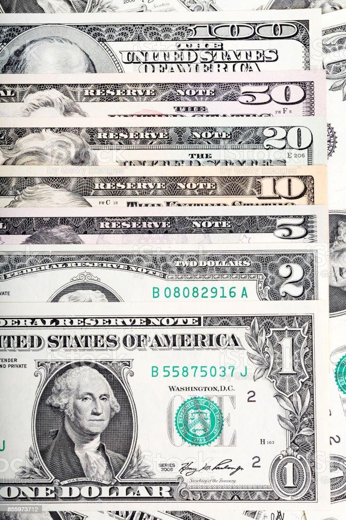 All of U.S. dollar bills on a money background stock photo