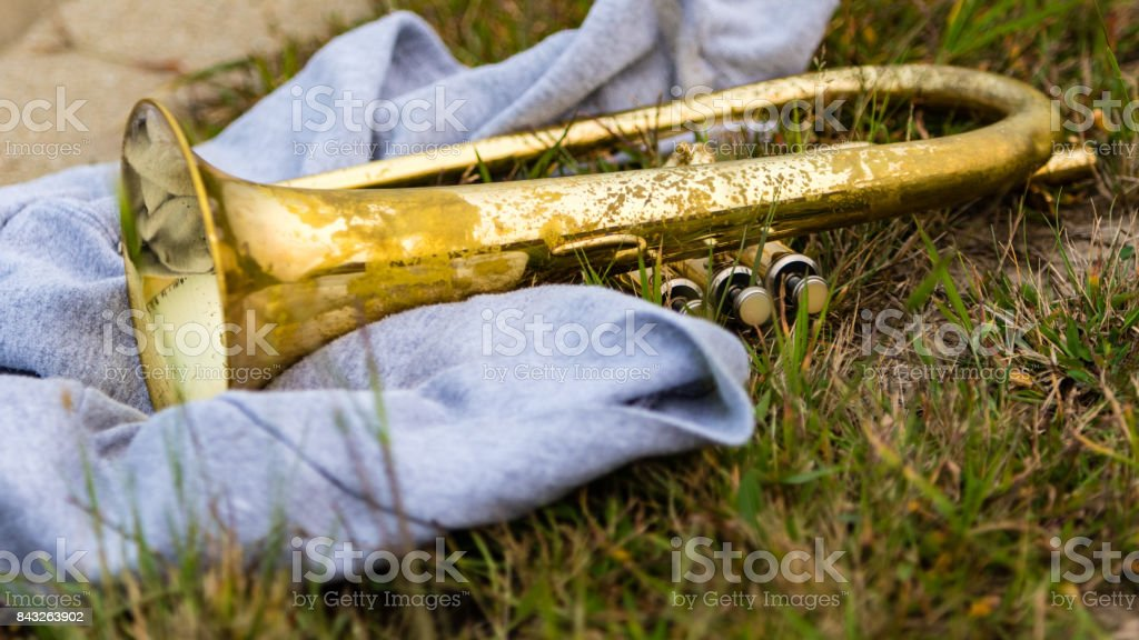 all one needs for the evening a sweatshirt and their Flugelhorn stock photo