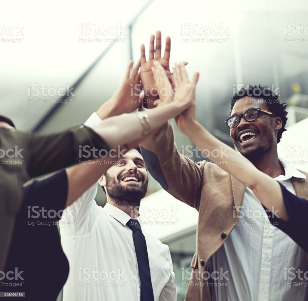 All our hard work has finally paid off! stock photo