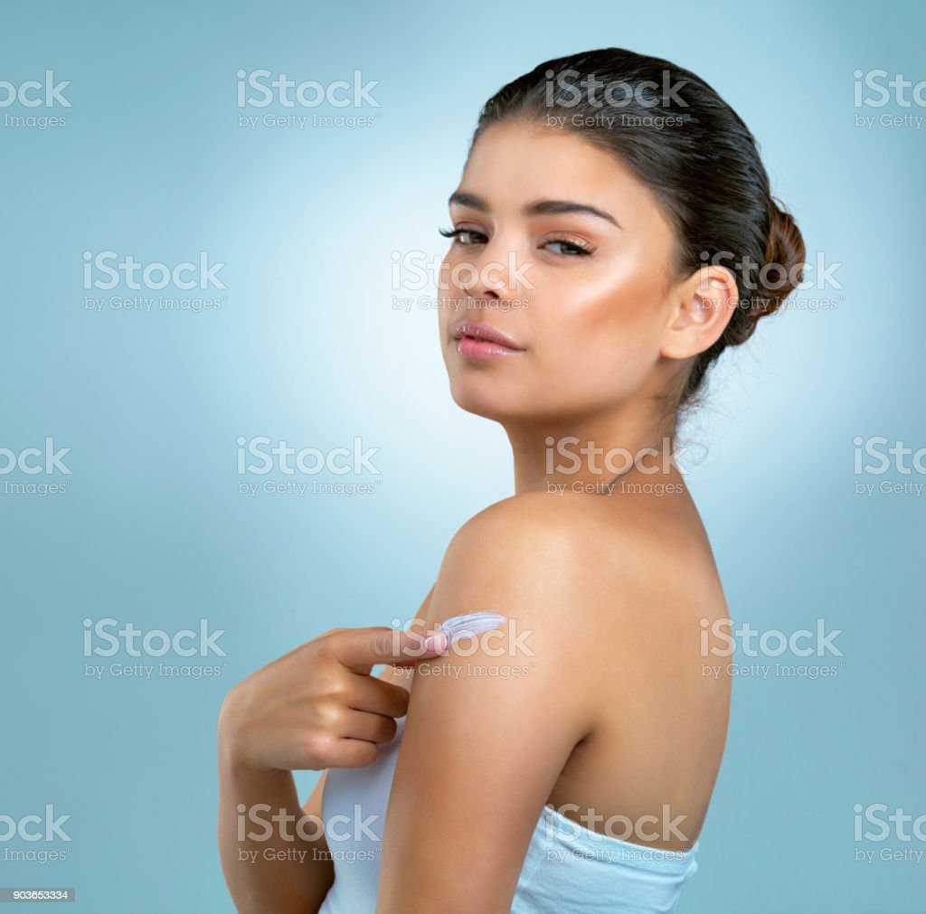 All over care for your skin is imperative stock photo