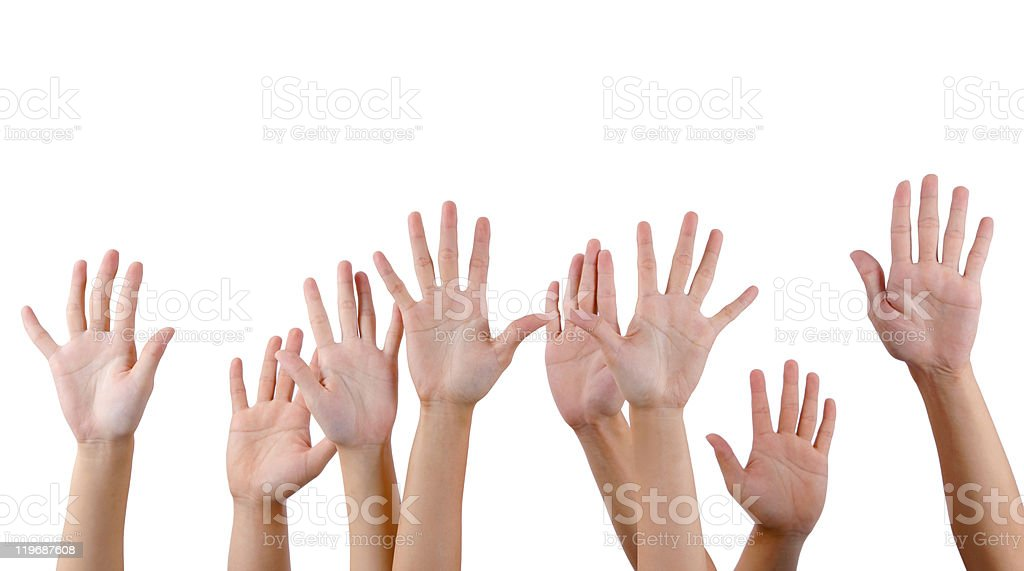 All people raise hands stock photo