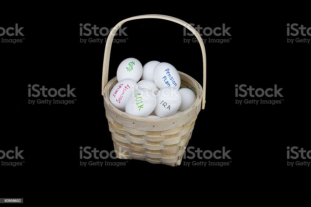 all retirement eggs in one basket royalty-free stock photo