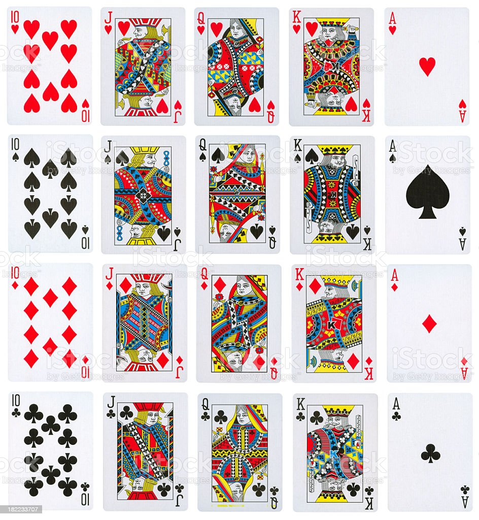 All Royal Flushes istolated on white stock photo