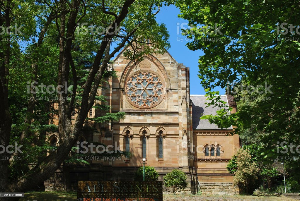 All Saints' Anglican Church Woollahra exterior in Sydney stock photo
