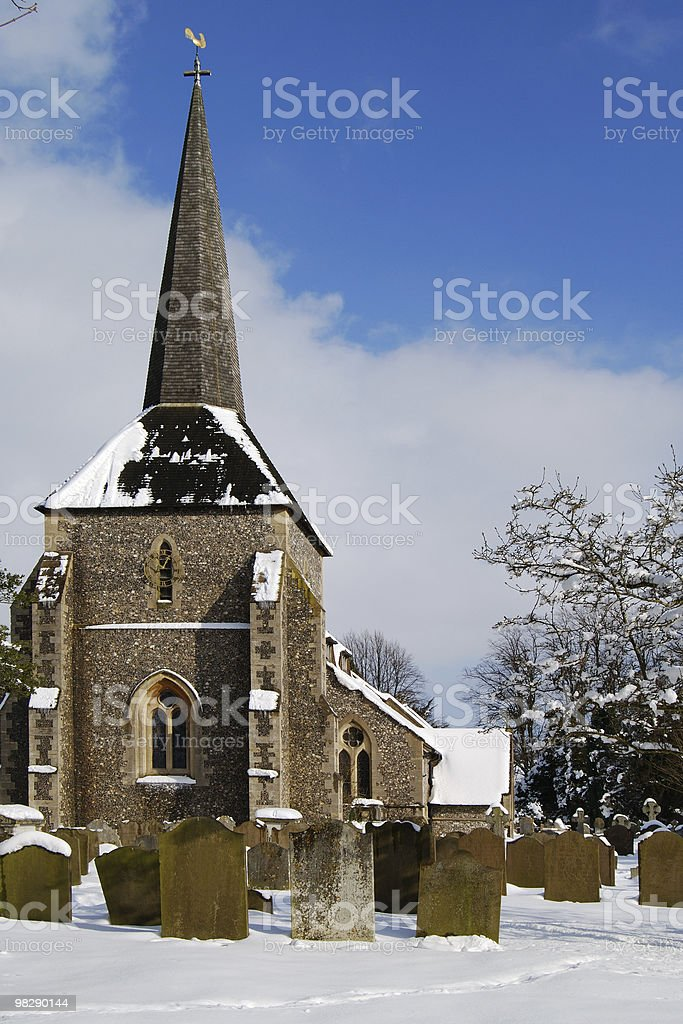 All Saints Church in snow. Banstead, Surrey, England royalty-free stock photo