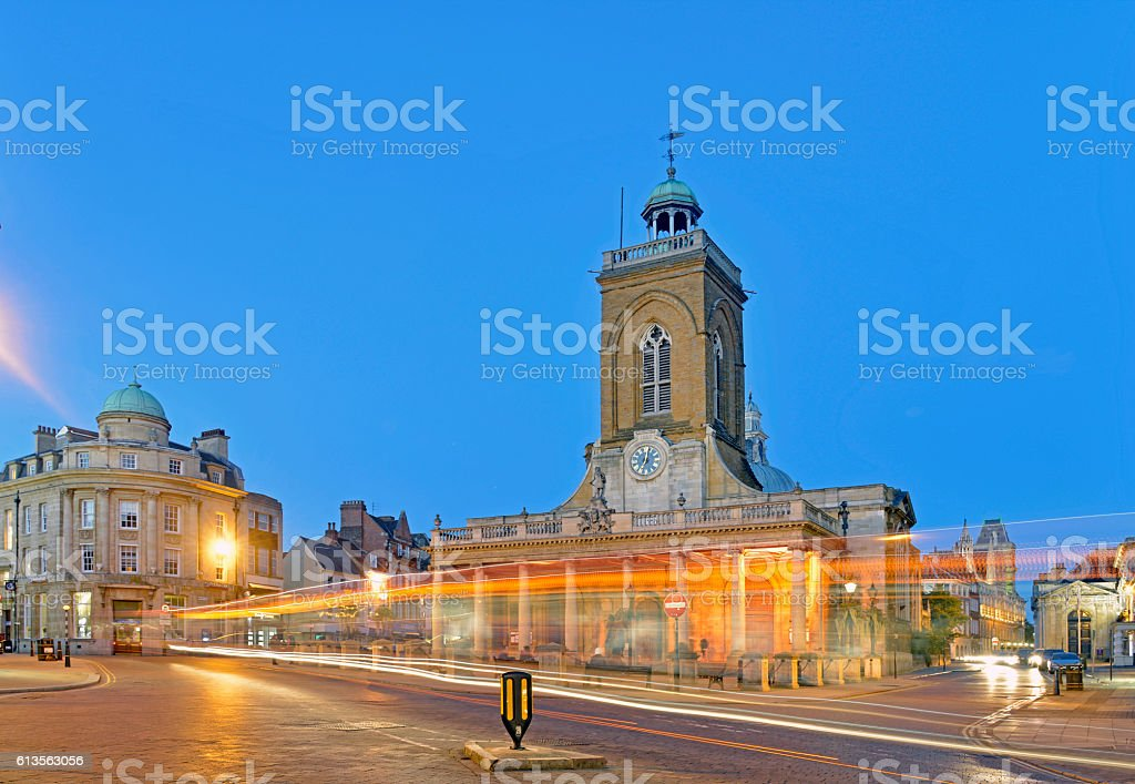 All Saints church Northampton at night. stock photo