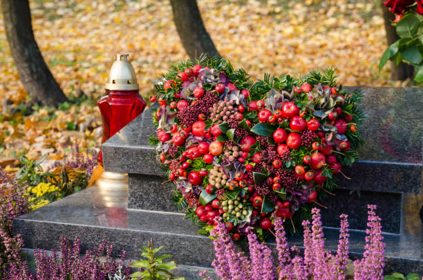 all saints day in the autumn cemetery