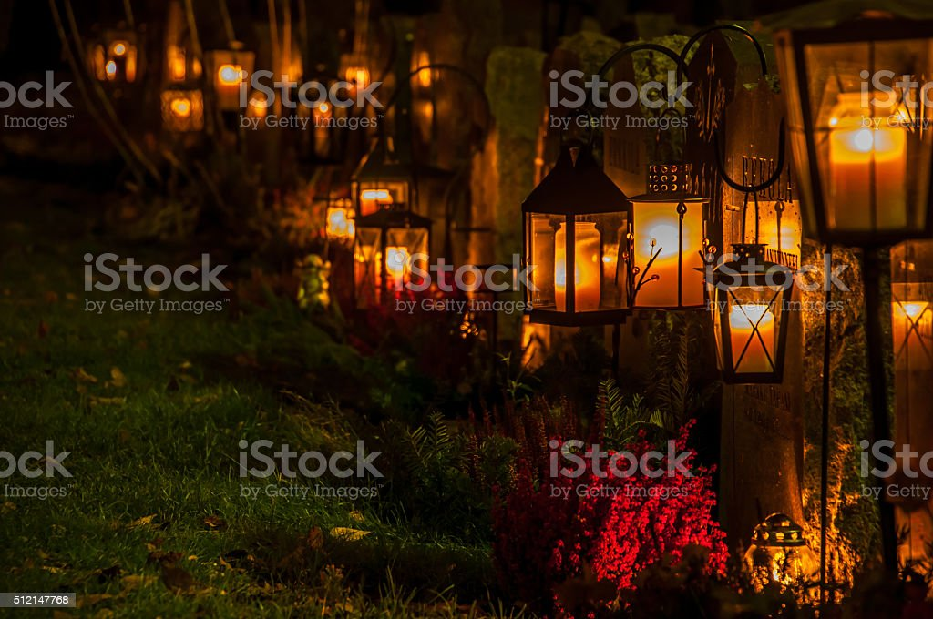 All Saint's Day in the Graveyard stock photo